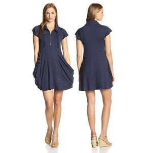 Kensie Navy Flutter Sleeve Draped Sheath Dress